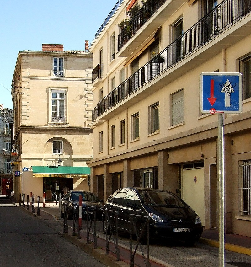 typical street in Montpellier, France.
