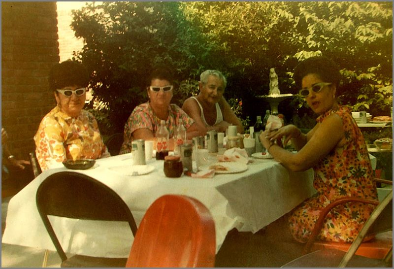 A family at a bar-b-que in the sixties.