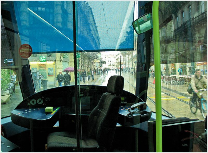 Cockpit of tramway in Montpellier France.