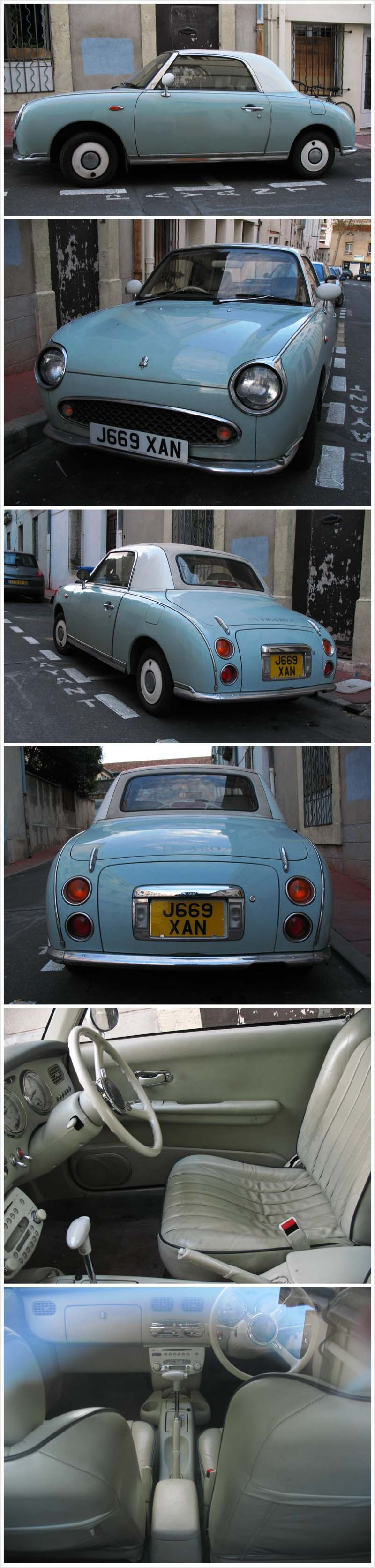 Mint green Figaro sports car.