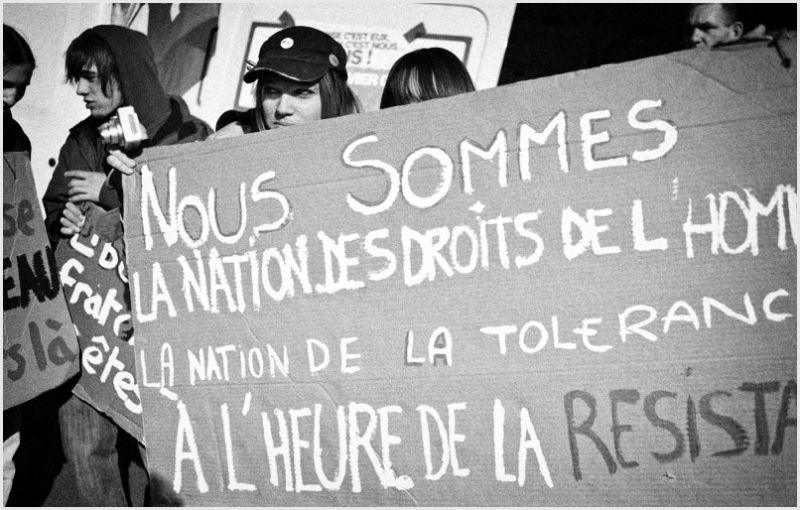 French youth at a protest march.