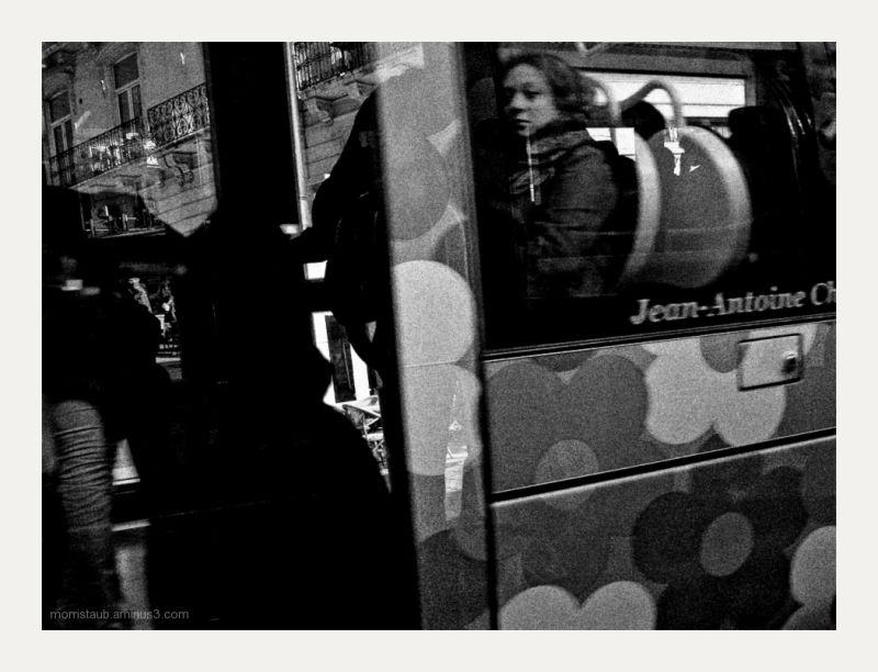 Woman on a tramway car.