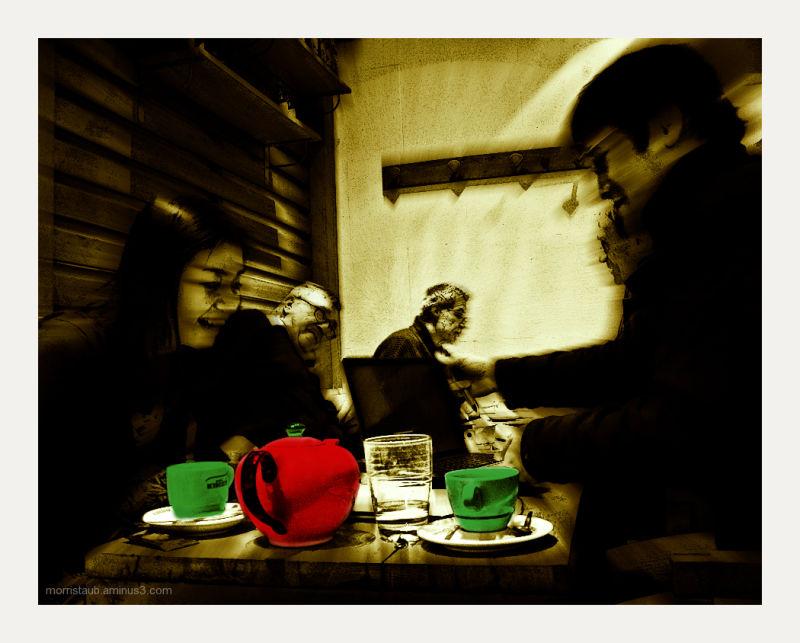 Enjoying tea in a cafe.