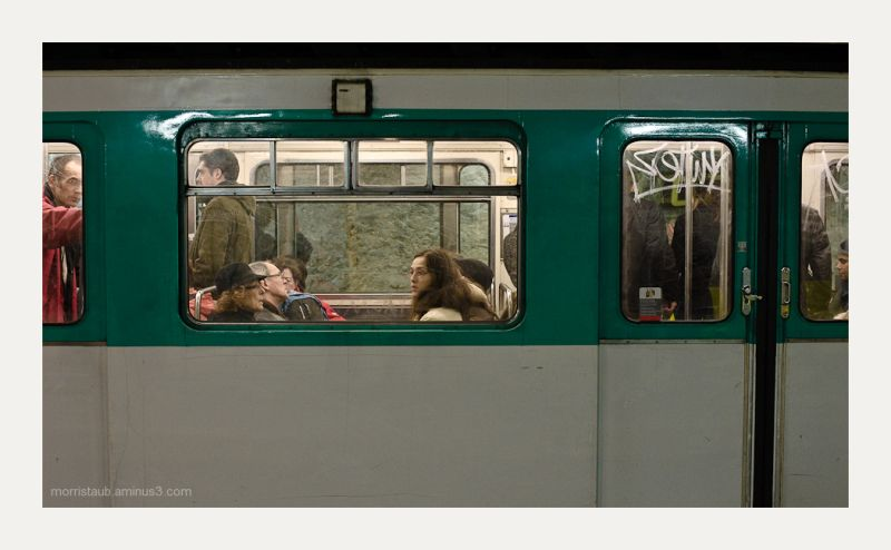 Commuters on the metro in Paris.