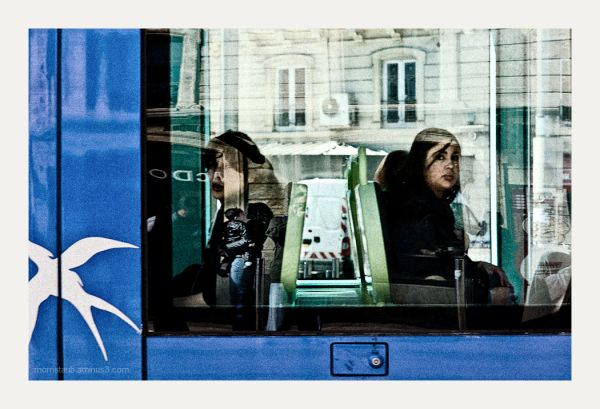 Passengers on a tramway in the south of France.