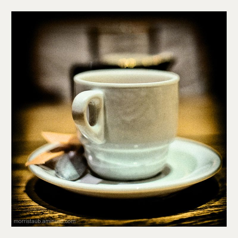 Mug on table in a cafe.