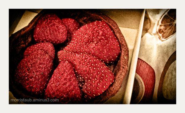 Strawberry tart in a box.