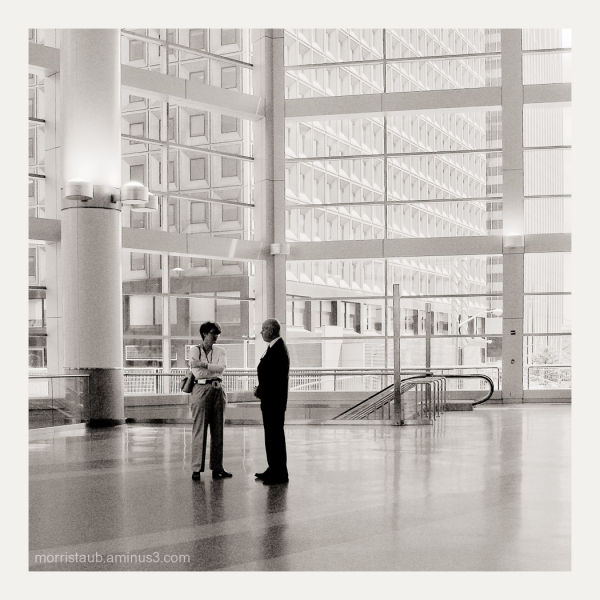 Talking inside the Staten Island Ferry terminal.