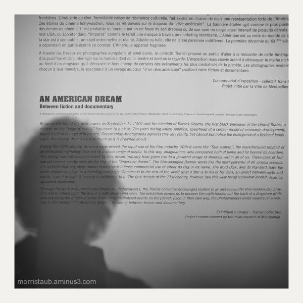 An American Dream photo exhibit entrance.