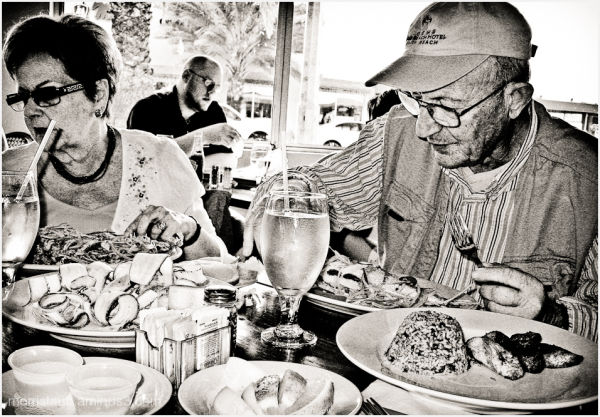 Older couple eating in a restaurant