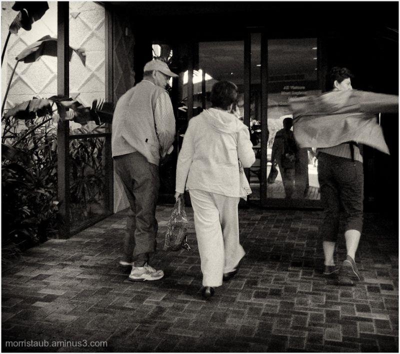 Three friends walking together.