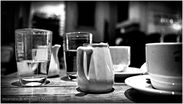 Cafe table wiith coffee, milk, and water.
