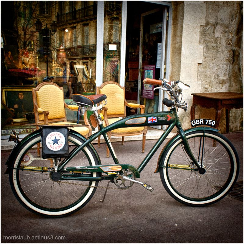 Old green bike.