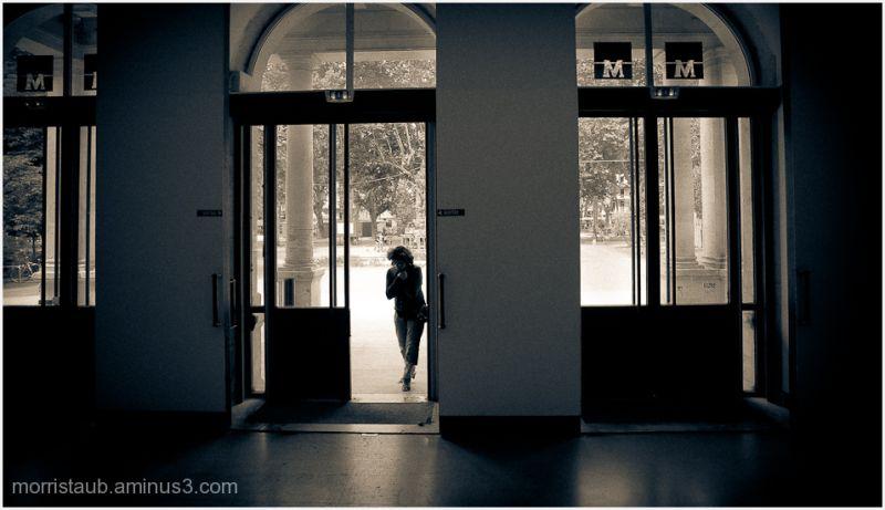 Woman in doorway.