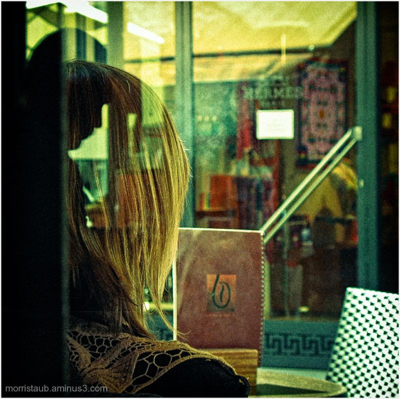 Reflections in cafe window.