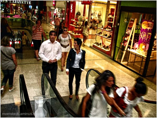 People walking in the mall in Montpellier.