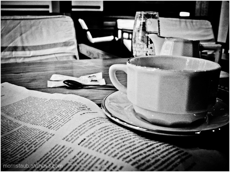 Table at french cafe.