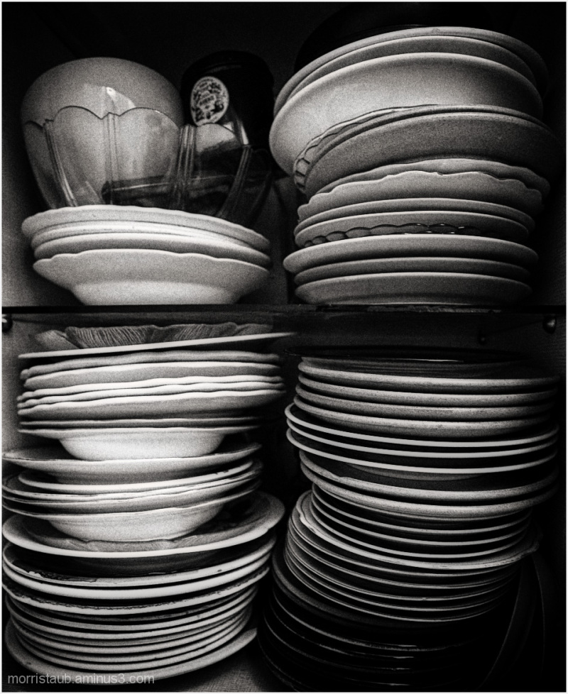 Stacks of bowls and dishes at a friends house.
