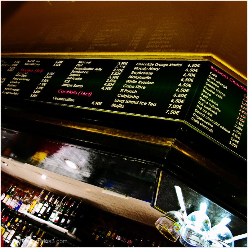 Drinks menu at a local bar.