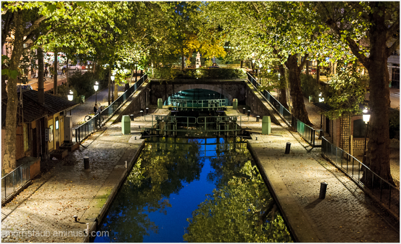 night canal paris water green trees reflection