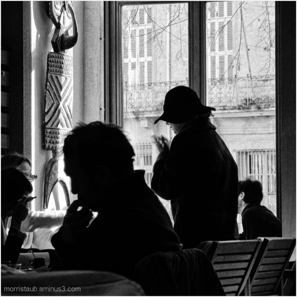 Customers at a french cafe.