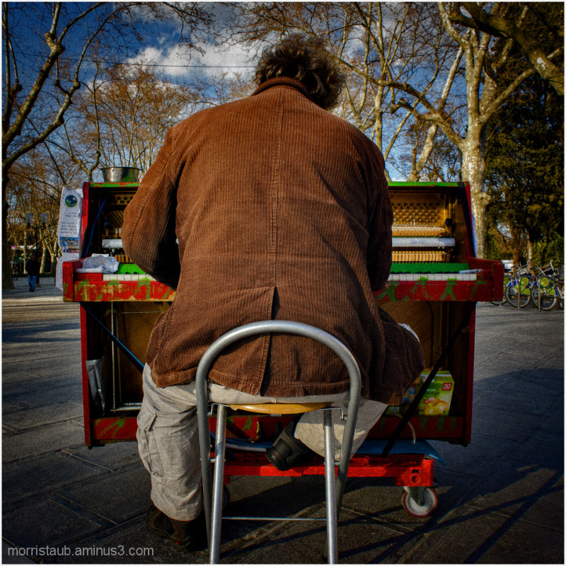 Man playing piano in public.