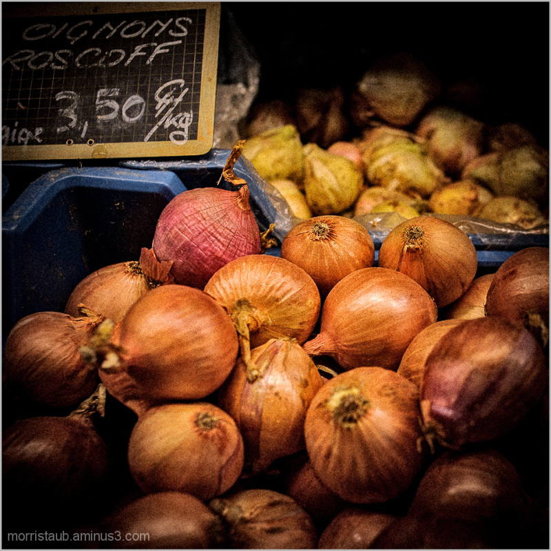 Roscoff onions in a french market.