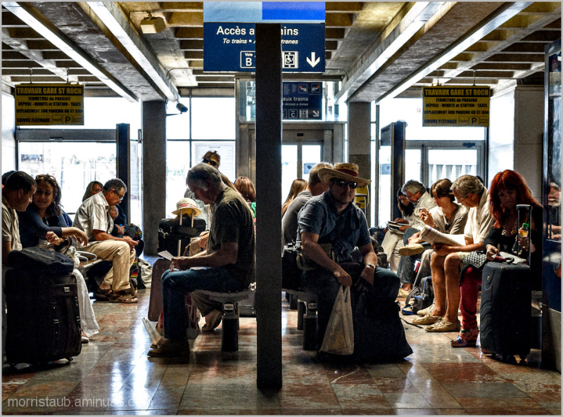 Passengers waiting for their trains.