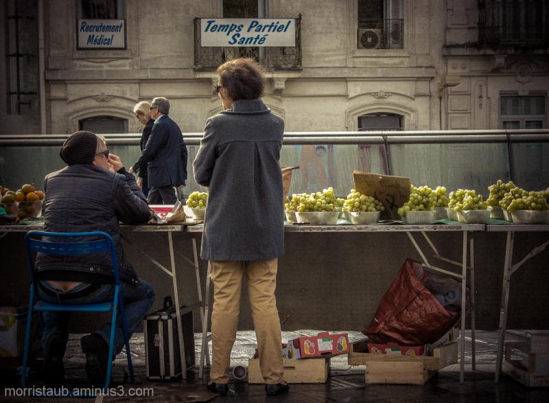 Fruit sellers in Montpellier, France.