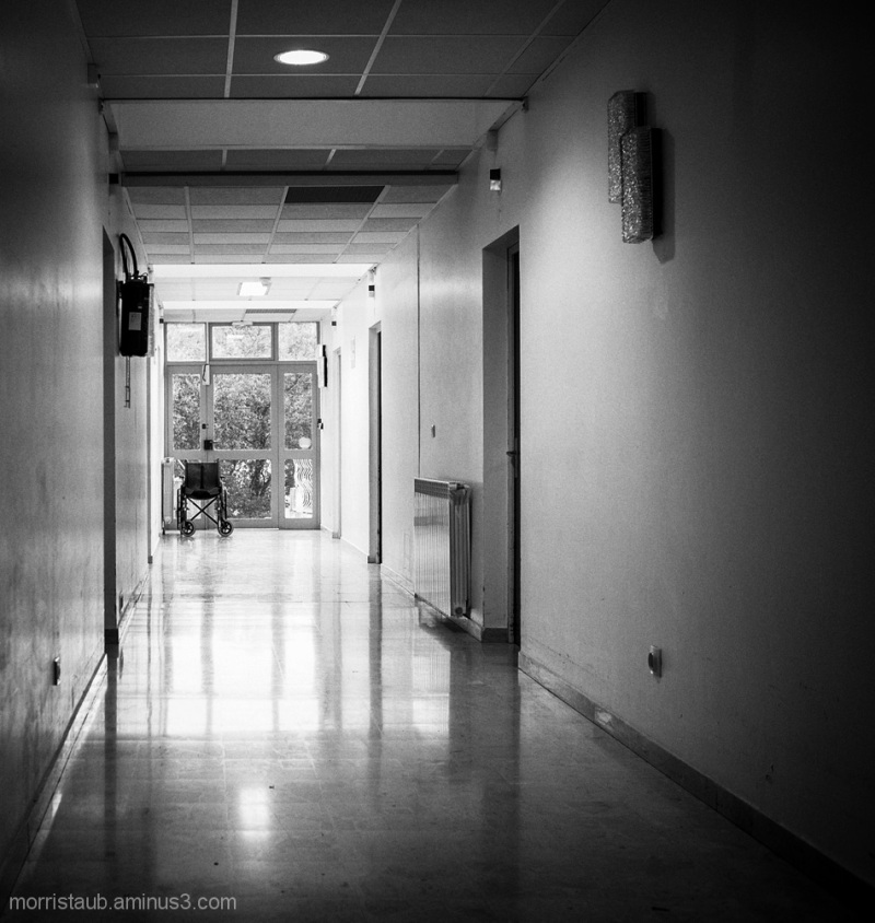 Convalescent home hallway for the elderly.