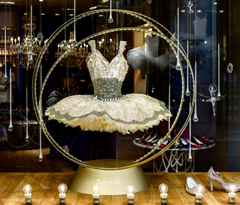 Tutu displayed in store window.