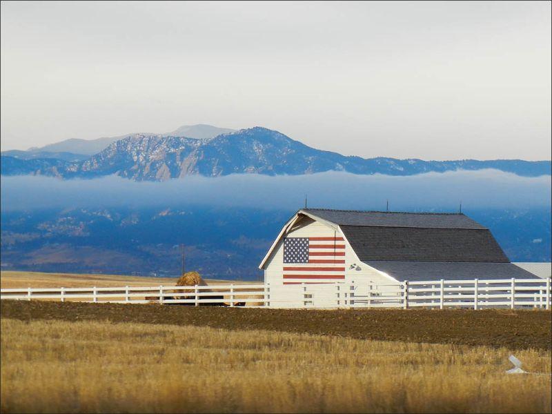 Barn with a flag