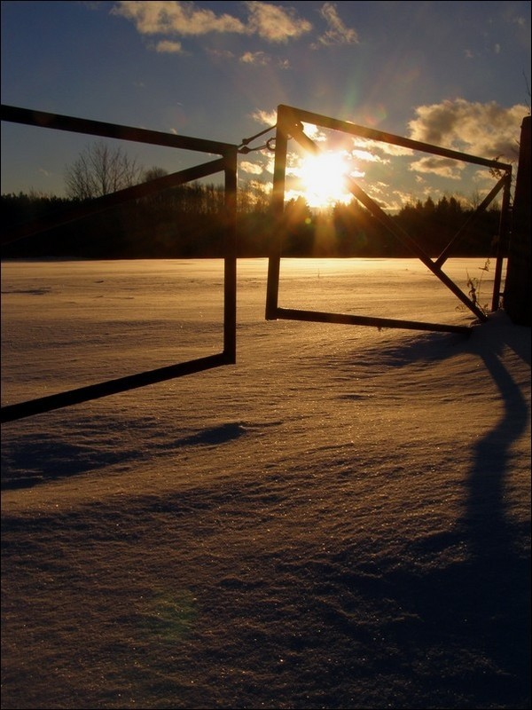 sunset on a snow filed