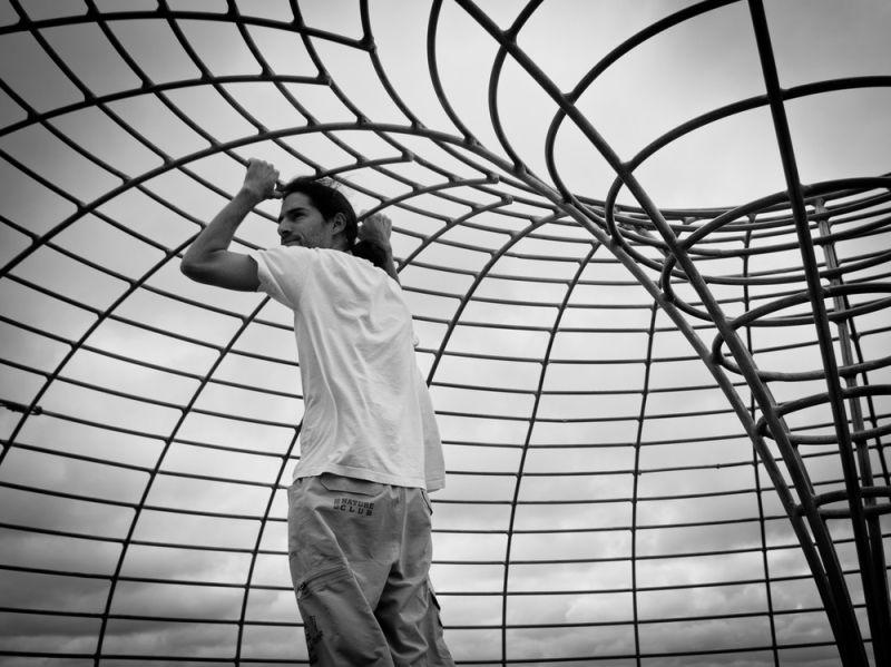 Tourist in cage