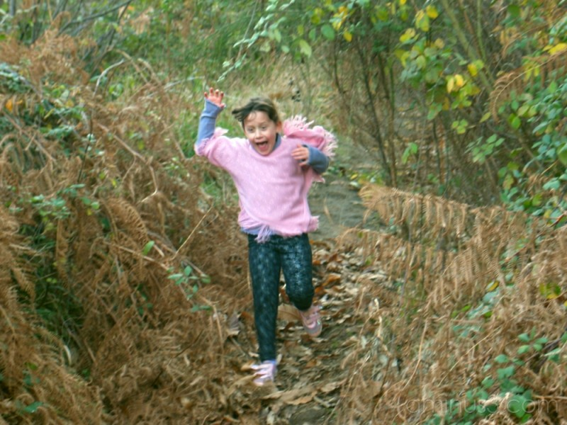 running down a hill on a hiking trip