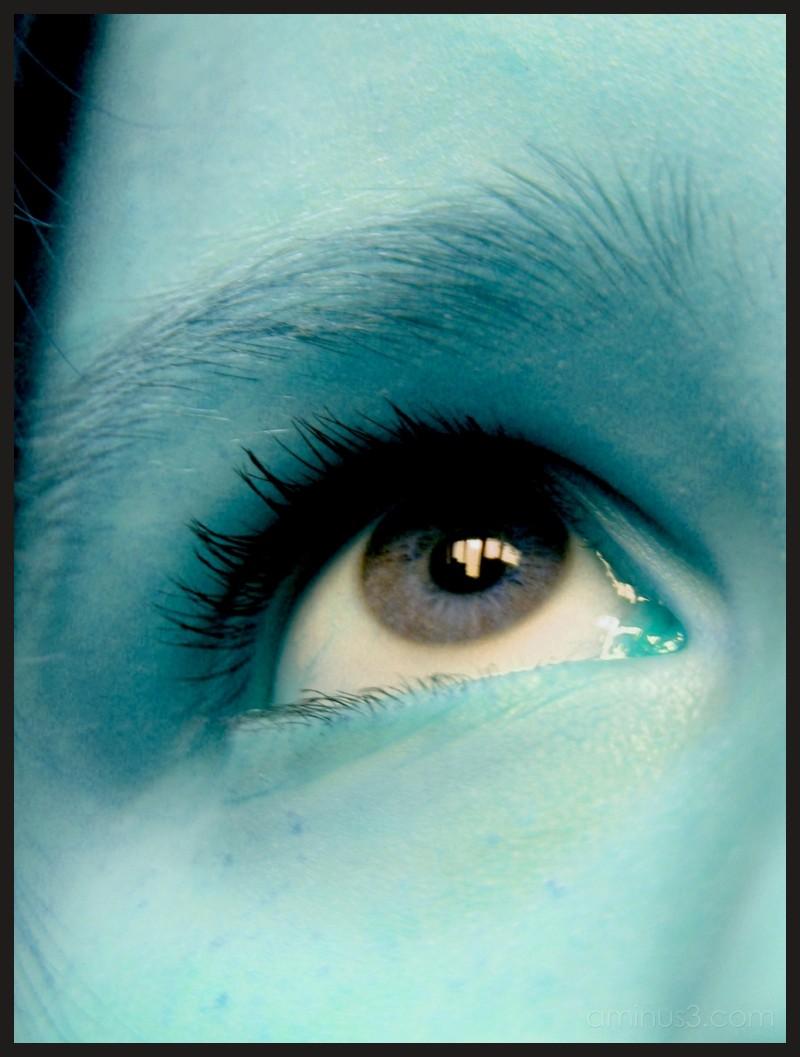 a closeup of my eye turned blue