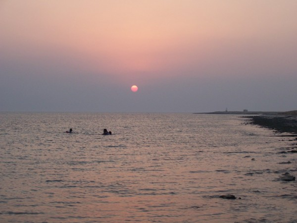 the sunset in red sea