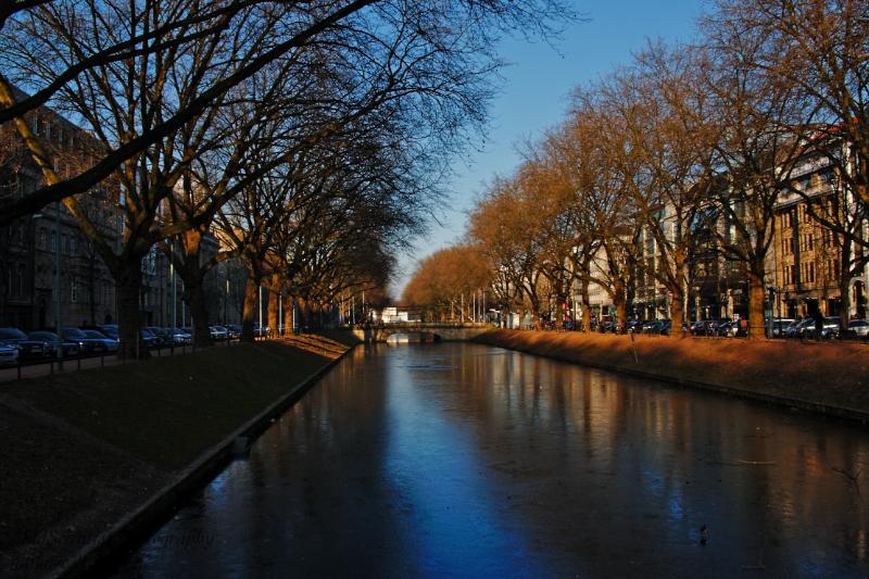 Frozen canal at Königsallee, Düsseldorf