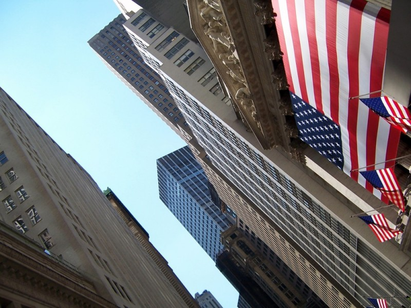 Wall Street capitalism US flag NYSE stock exchange