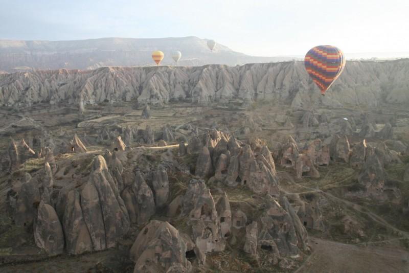 Vista des d'un globus a la Capadocia turca