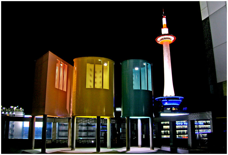 Picture of Kyoto's tower from Kyoto Station.
