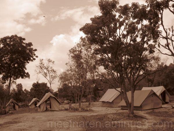 tents sepia