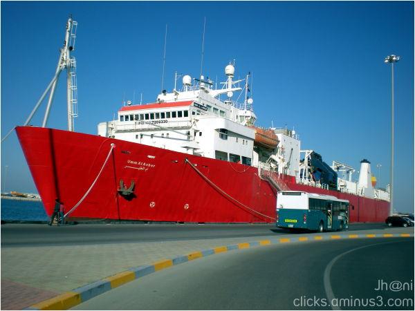 Ship, Bus, Port, Abu Dhabi, UAE