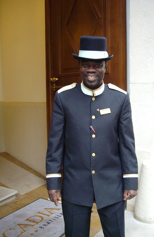 Hotel doorman from Ghana in old town, Bratislava