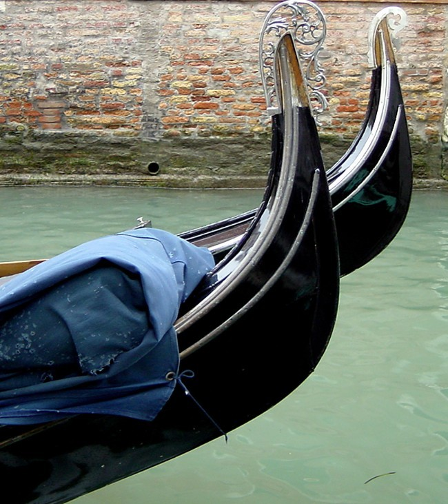 Gondolas in winter - Venice