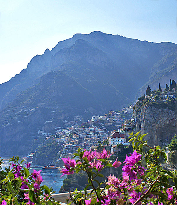Positano with flowers