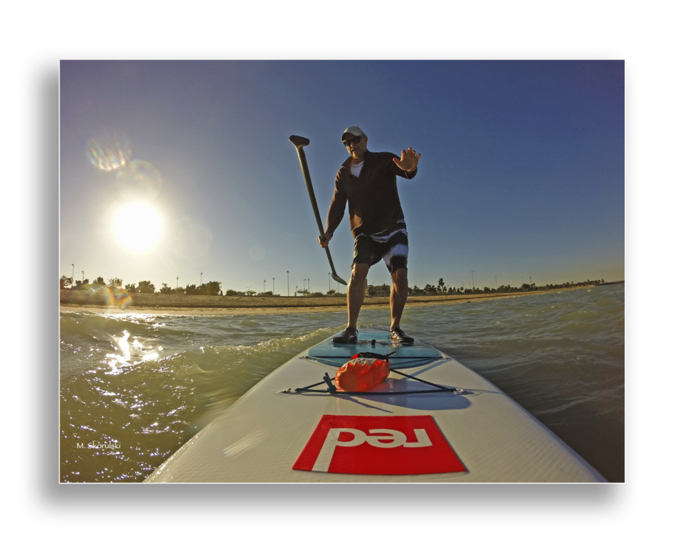 Reaching for Support-Wet selfie on SUP