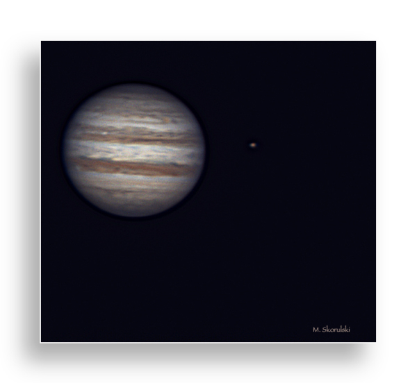 Jupiter and Moon from 588 million kilometers