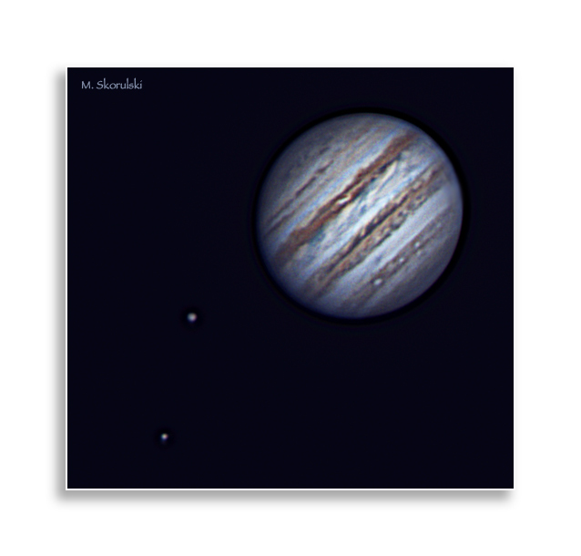 Jupiter and 2 moons