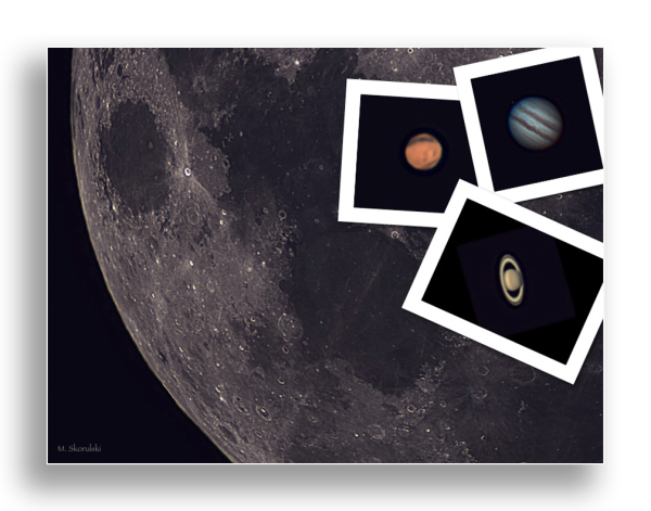 Mars, Saturn, Jupiter and the Moon